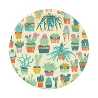 Cactus Flower Pattern 7 Inch Paper Plate