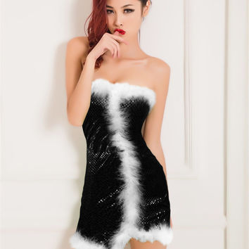 Black Strapless Faux Fur Accent Sequined Dress