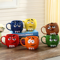 Cute M&M's MM Beans Cafe Oatmeal Mug Drinking Cups Ceramic Color Glaze Coffee Milk Mug Water Tea Cup