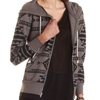 Zip-Up Aztec Print Hoodie by Charlotte Russe - Gray Combo