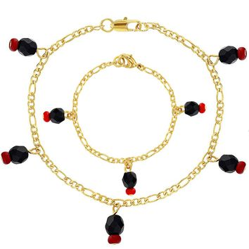 18k Gold Plated Simulated Azabache Evil Eye Protection Two Bracelet Set Mommy Baby