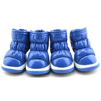 Blue Quilted Waterproof Dog Snow Boots Pet Shoes