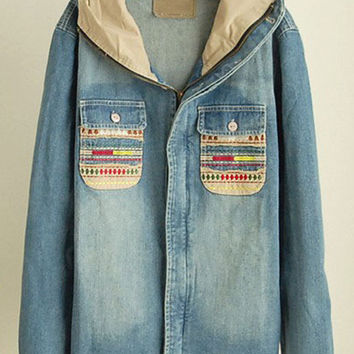 Blue Patched Pockets Hooded Denim Jacket