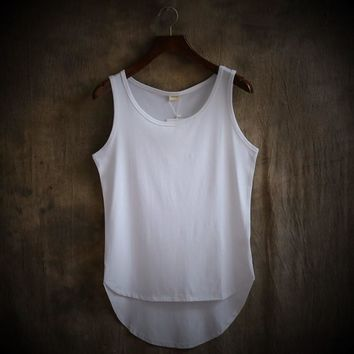 Summer New Fashion Simple Pure Color Asymmetry Curved Hem Loose Personality Sleeveless T Shirt Men Vest Tank Tops