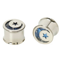 Steel Blue Glitter Moon Star Flare Plug 2 Pack
