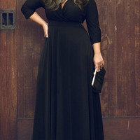 V Neck Plus Size Skater Maxi Dress