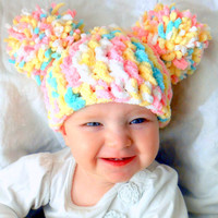 Pom Pom Hat Baby Girl Hat Chunky Pink White Blue Yellow Crochet Knit Infant Double Pom Pom Beanie Photography Prop
