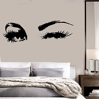 Beautiful Eyes Big Eye Lashes Wink Decor Wall Art Mural Vinyl Decal Sticker Unique Gift (M462)