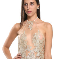 Golden Halter Backless Sheer Lace Crop Top