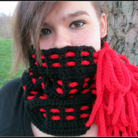 Braided Black Crochet Cowl with Red Ties, Neckwarmer, Unique Cowl with Ties, Red Bow, Adjustable Cowl