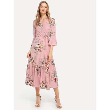 Pink Plunge Neck Floral Print Bell Sleeve Slit Dress