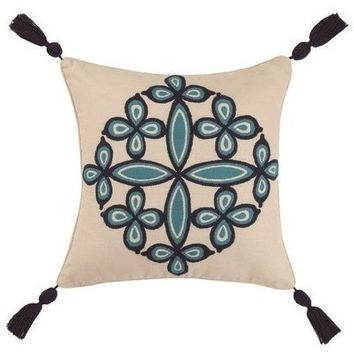 Desert Medallion Blue Throw Pillows