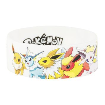 Licensed cool Pokemon GO EEVEE Evolutions Print Rubber Bracelet Wristband Licensed Jewelry NEW