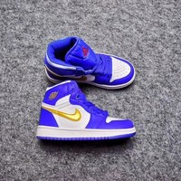 Best Deal Online Nike Air Jordan Retro 1 High OG White Royal Gold Kid Basketball Shoes for Youth Boys and Child