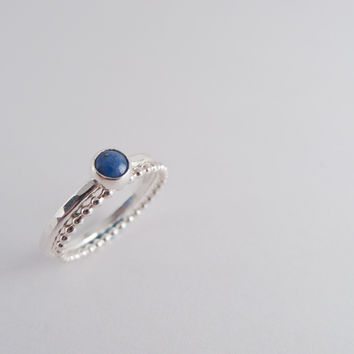 Silver Stacking Rings ~ Denim Lapis Ring ~ Stackable ~ Sterling Silver  ~ Everyday Jewelry ~ Minimalist ~ Modern ~ Simple