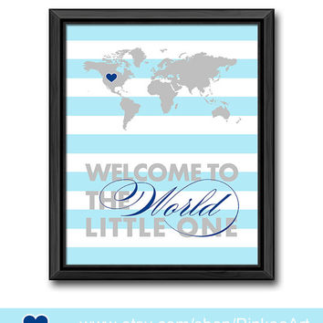striped nursery typography blue gray baby wall decor welcome to the world map print baby nursery decor new baby gift travel theme nursery