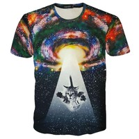 Kitty Cat Beamed into Space Universe Galaxy UFO Print Graphic Print T-Shirt