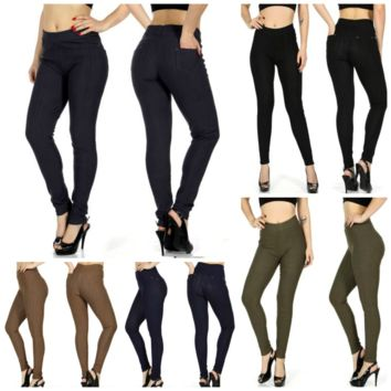 Plus Size Stripe textured pants leggings w/ back pockets in Sizes in 5 Colors