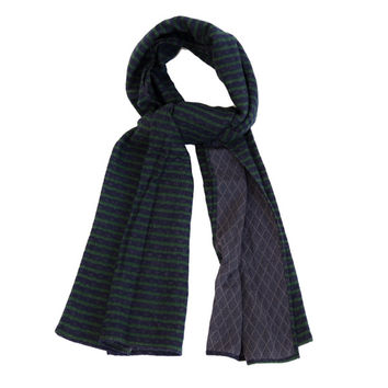 The Hill-Side Scarf - Diamond-Quilted Gauze Stripe Navy/Green