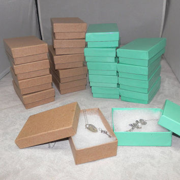 Kraft and Teal Gift and Retail Cotton Filled Presentation Jewelry boxes lot of 20  size 3.25X2.25