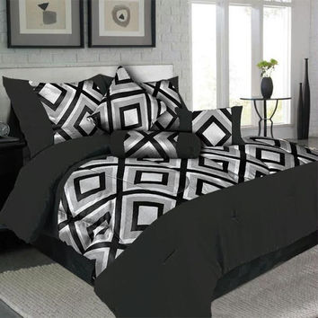 Lavish Home 7 Piece King Geneva Comforter Set