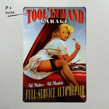 DL-FULL SERVICE AUTO REPAIR Tool In Hand Garage take you back to the pin up girls of the 1950's  great garage or man cave sign