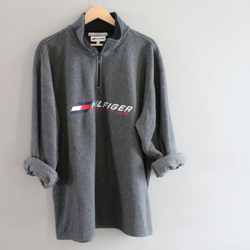 Tommy Hilfiger Sweatshirt Grey Fleece Zip Up Tommy Pullover Baggy Slouchy Old School Sweatshirt Size L - XL