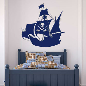 Swords And Skull Pirate Ship Wall Decal Vinyl Waterproof Home Decor Child Room Wall Sticker Anime