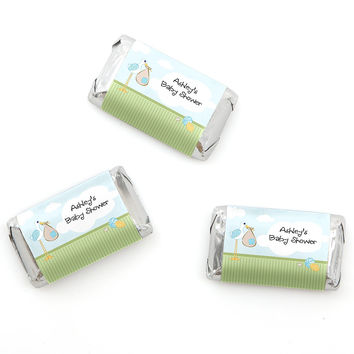 Stork Baby Boy - Personalized Baby Shower Mini Candy Bar Wrapper Favors - 20 ct