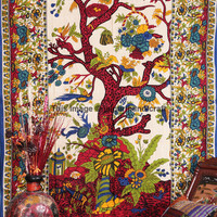 Native Purity Tree of Life Tapestry, Tree Of Life Indian Tapestry Beach Sheet Hanging Wall Art, Twin Size Indian Tapestry, Indian Tapestry