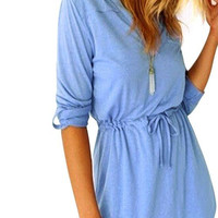 Blue Tie Waist Mini Dress