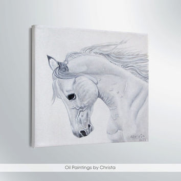 HORSE PAINTING, white horse, 6x6i, oil painting, animal painting, wall decor, art, illustration, birthday gift, brown, Stretched canvas