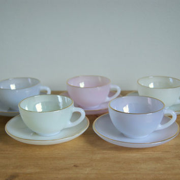 Arcopal France pastel coffee cups tea set by LittleJayVintage