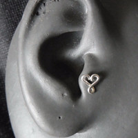Tragus / Cartilage Earring Sterling silver infinity heart with butterfly backing