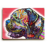 Profile Mastiff by Artist Dean Russo Wood Sign