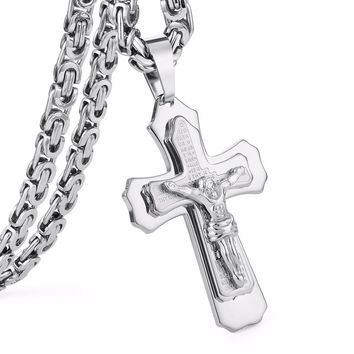 "Crucified Jesus Cross with Carved Word Christian Pendant Necklaces Jewelry for Men Heavy Link Byzantine Chain 21.65"" 6mm MN0060"