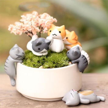 6 Pcs/Set Cute Cartoon Lazy Cats For Micro Landscape