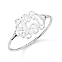 Sterling Silver Monogram Initial Bangle Bracelet: Personalized Boutique, Inc.