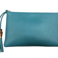 Gucci Women's Deep Cobalt Blue Dollar Calf Leather Bamboo Clutch Bag 449652