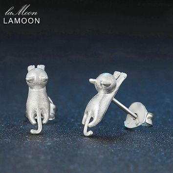 LAMOON 2017 New Wire Drawing Little Cat 100% Real 925-Sterling-Sliver Fine Jewelry Stud Earrings for Women Girl Gift LMEY029