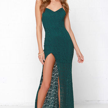 Sweetheart to Heart Forest Green Lace Maxi Dress