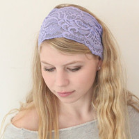 Very  Cute Stretch  Lace   Headband lavender  color great accessory for your outfit