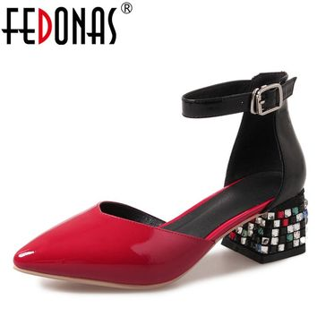 FEDONAS 2018 Women Glitters High Heeled Sandals Genuine Leather Summer Female Pointed Toe Shoes Woman Ladies Gladiator Sandals