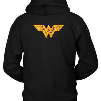 ONETOW Wonder Woman Logo Hoodie Two Sided