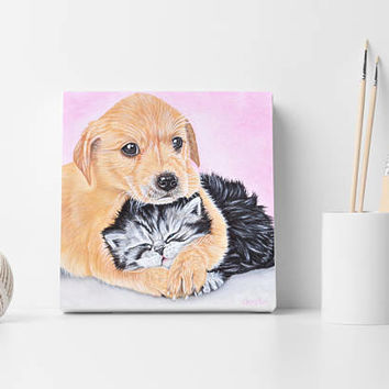 Custom portrait 2 pets, Custom dog portrait, Custom cat portrait, Pets wall decor, Pet lovers gift, Modern art, Christmas gift, Pets gift