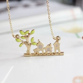 Gold Color Chain Enamel Tree Green Leaf Pendants Statement Necklace House Building Lovely Necklace for Children Kids Gifts