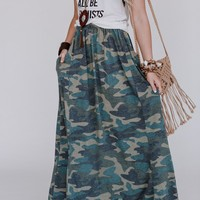 At Attention Camo Maxi Skirt - Teal Camo