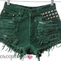 Vintage LEVIS Green Denim STUDDED High by kaleidoscopeeyesvtg