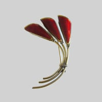Oystein Balle Brooch, Modernist Norway Sterling Flower Pin, Vintage Floral Brooch, Red Enamel & Gilded Sterling Silver, Rare!