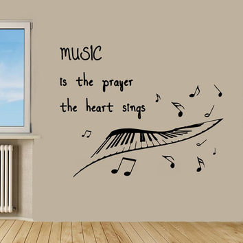 Wall Decals Quote Music Is The Prayer The Heart Sings Musical Notes Vinyl Decal Sticker Interior Design Mural Kids Nursery Room Decor KG459